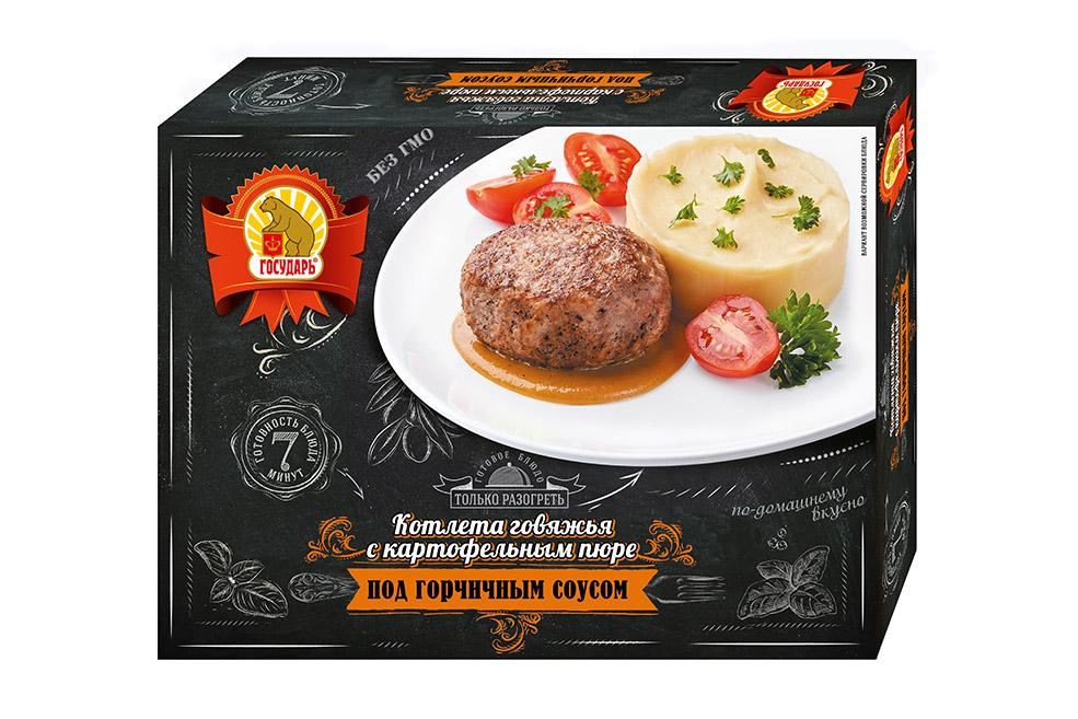 Котлета «Говяжья» с картофельным пюре под горчичным соусом.