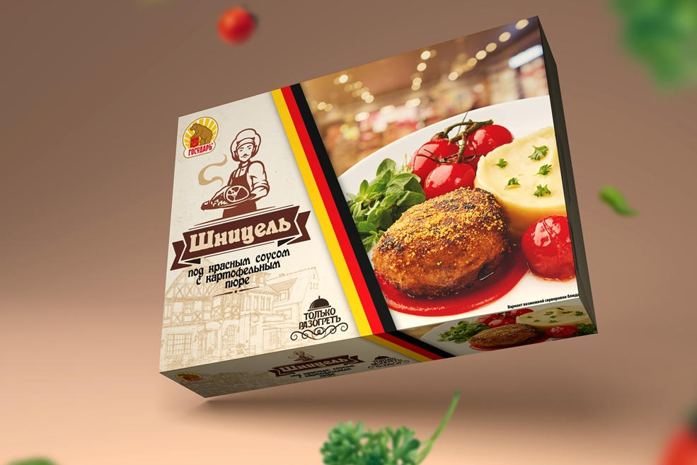 Шницель под красным соусом с картофельным пюре